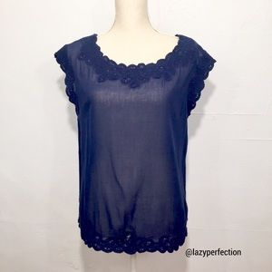 Joie Lightweight Blue Blouse Crochet Neckline Top
